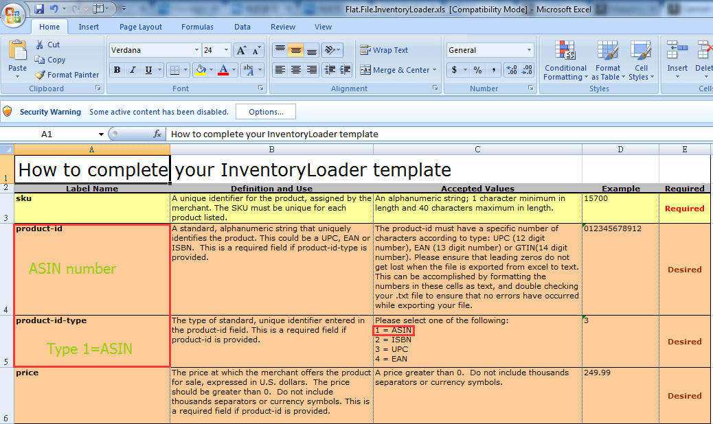 inventory Loader File Template source marketplace